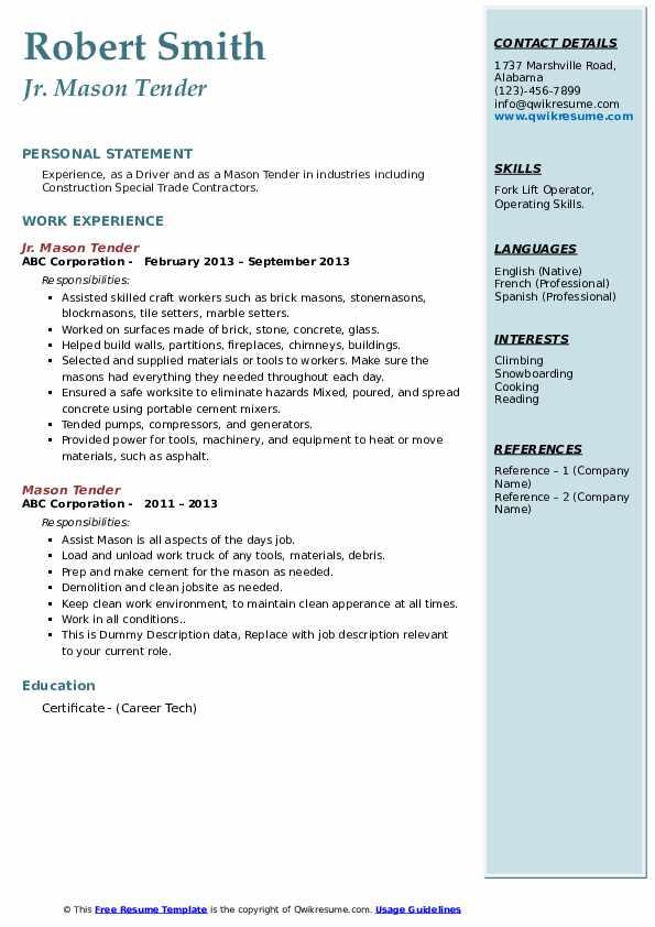 mason tender resume samples  qwikresume