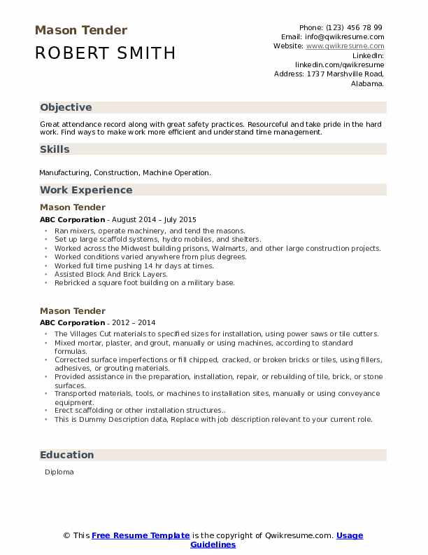 Mason Tender Resume example