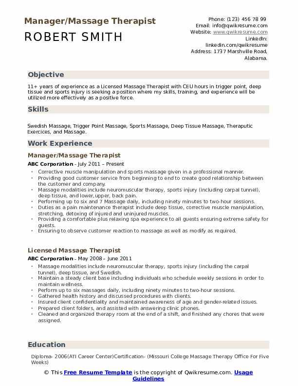 massage therapist resume samples