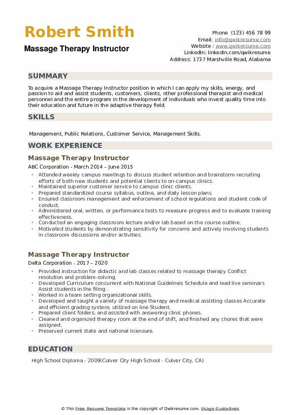 Massage Therapy Instructor Resume example