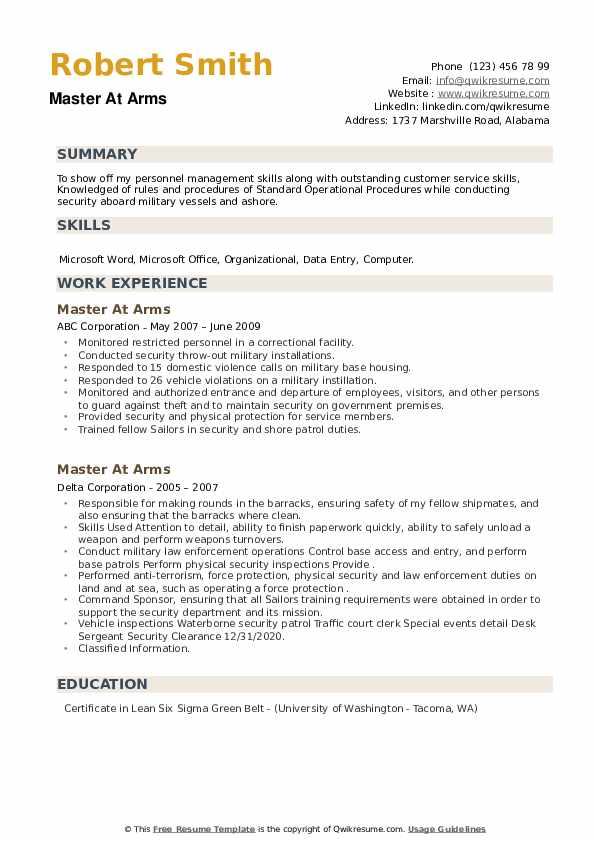 Master At Arms Resume example