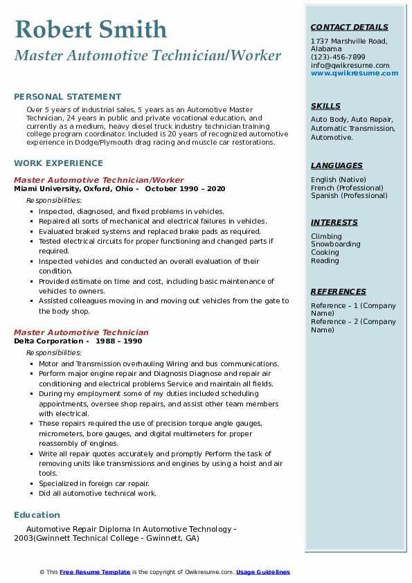 Master Automotive Technician Resume Samples | QwikResume