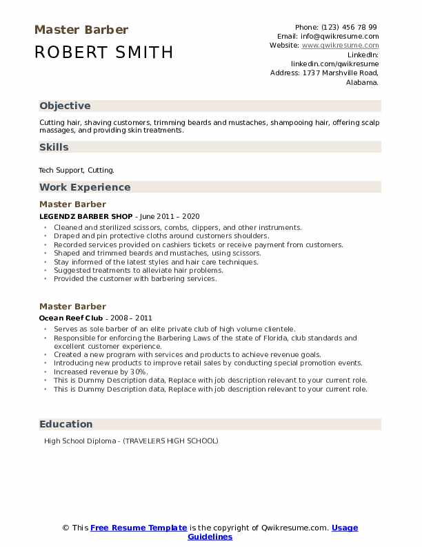 Master Barber Resume example