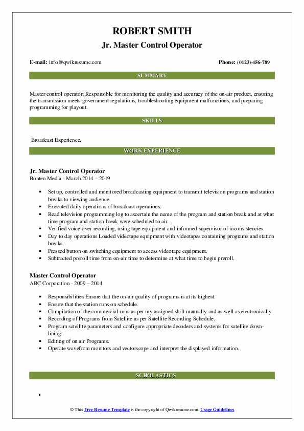 Jr. Master Control Operator Resume Example