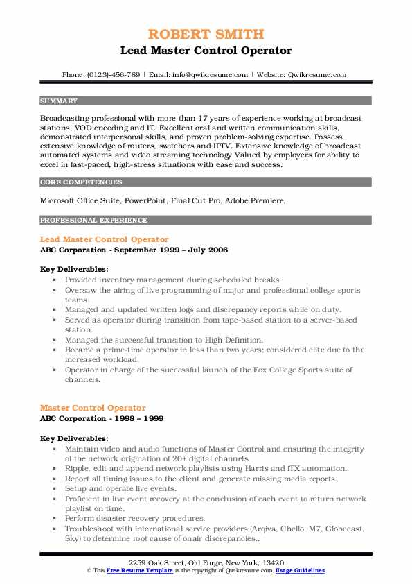 Lead Master Control Operator Resume Format