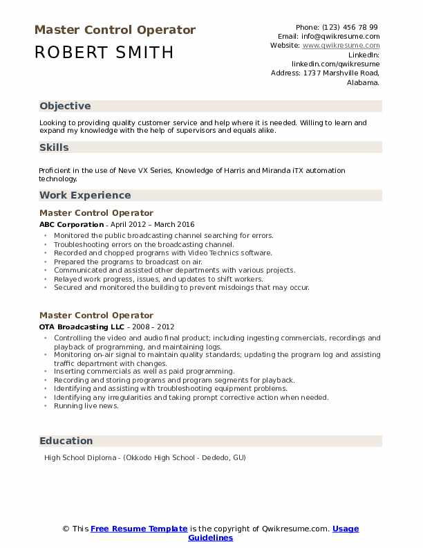 Master Control Operator Resume example