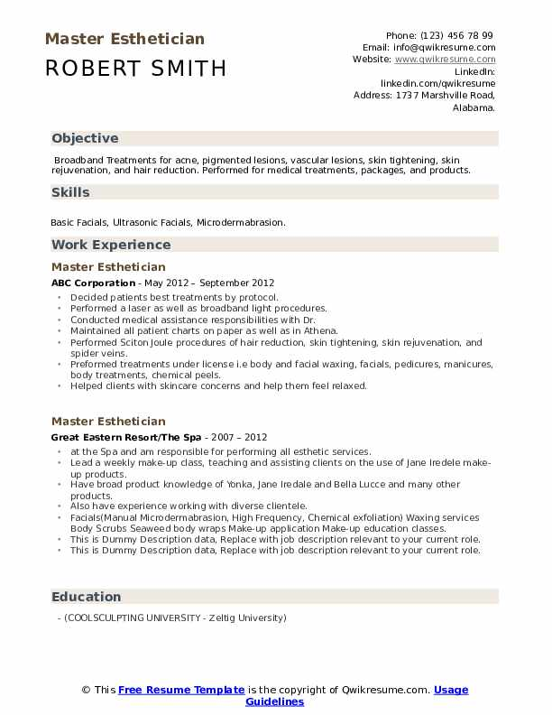 Master Esthetician Resume example