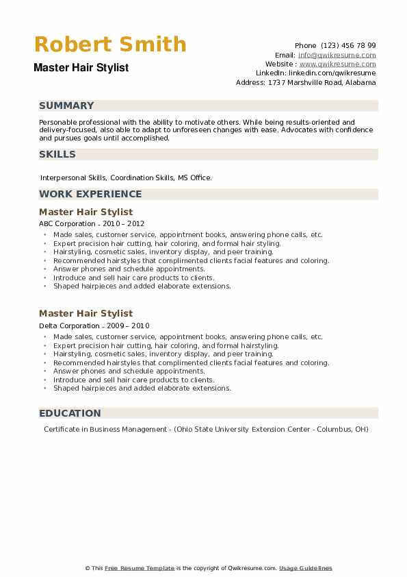 Master Hair Stylist Resume example