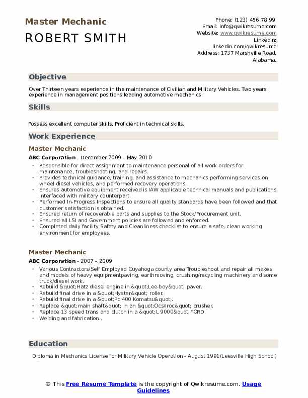 Master Mechanic Resume Model