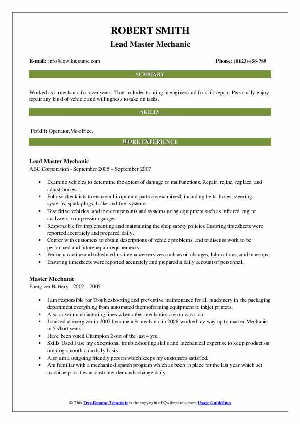 Lead Master Mechanic Resume Sample