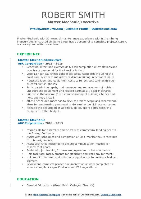 Master Mechanic/Executive Resume Template