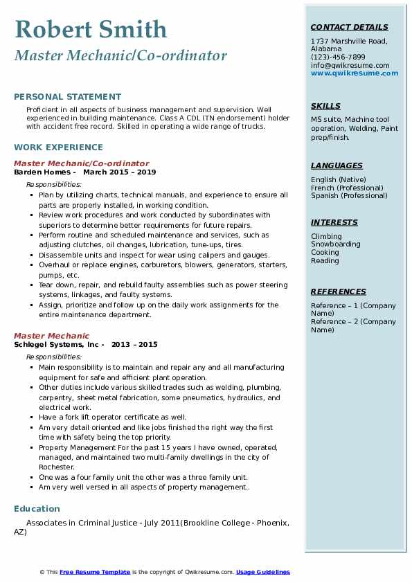 Master Mechanic/Co-ordinator Resume Template