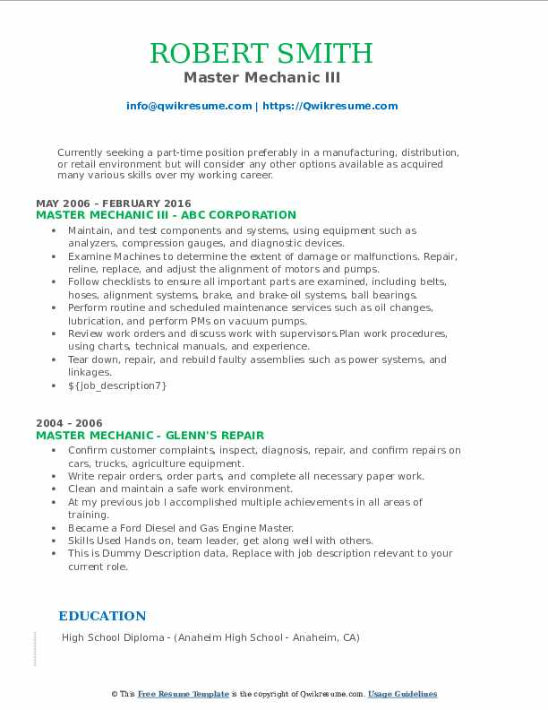 Master Mechanic III Resume Example