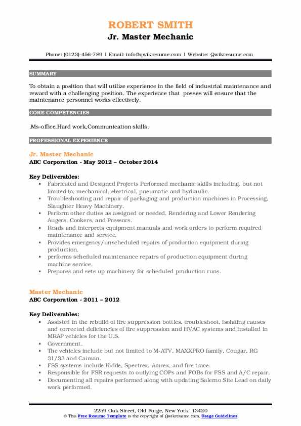 Jr. Master Mechanic Resume Example