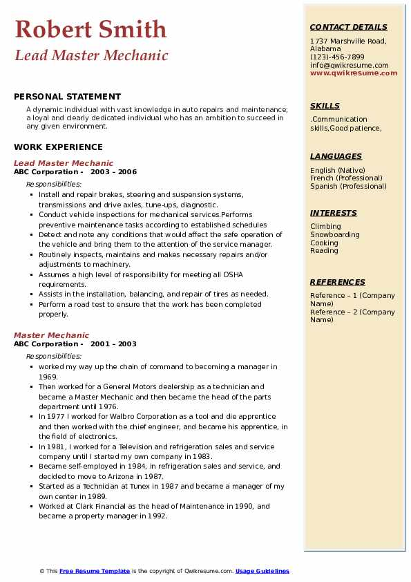 Lead Master Mechanic Resume Template