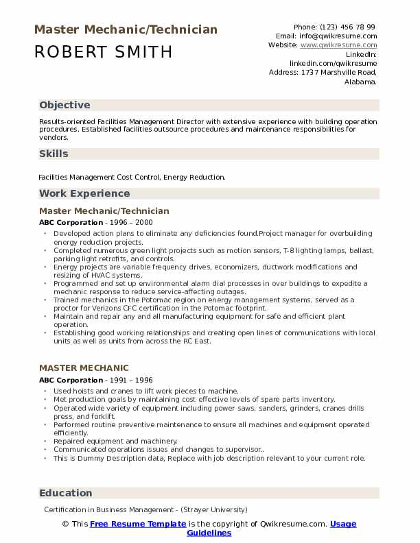 Master Mechanic/Technician Resume Model
