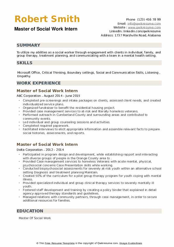 Master of Social Work Intern Resume example