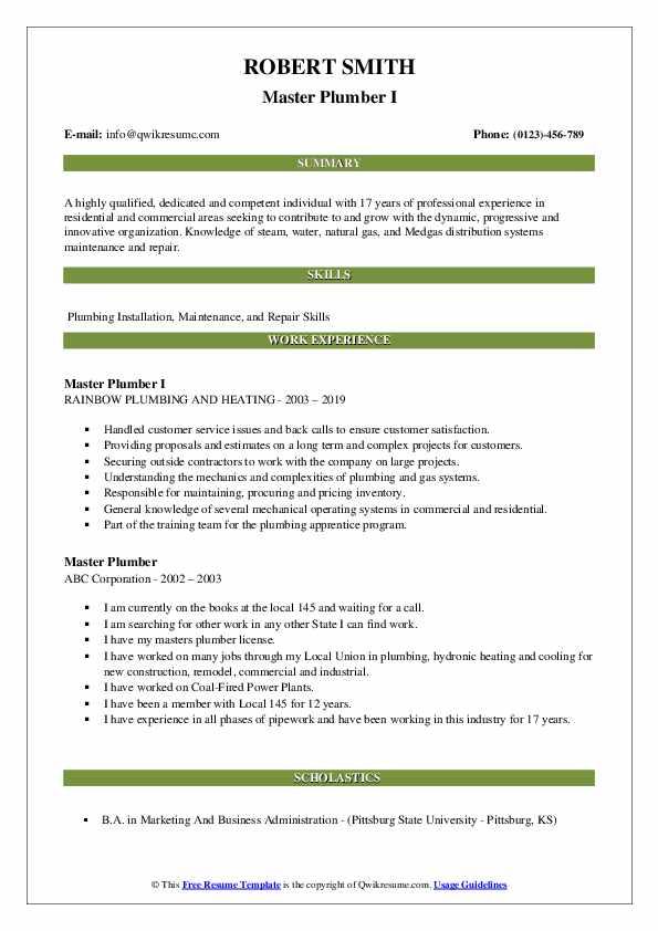 master plumber resume samples  qwikresume