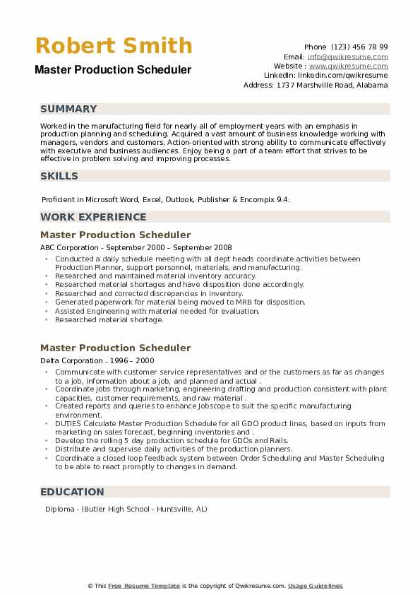 Master Production Scheduler Resume example