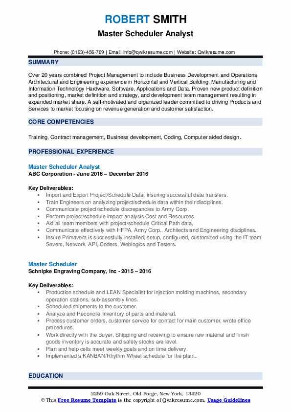 Master Scheduler Analyst Resume Format