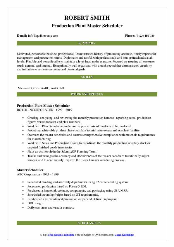 Production Plant Master Scheduler Resume Template