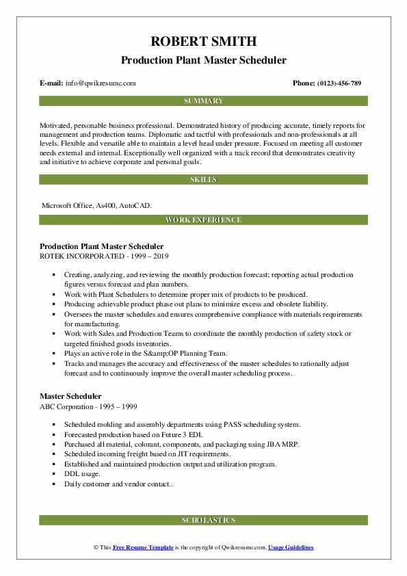 Production Plant Master Scheduler Resume Format