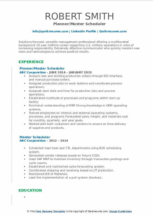 Planner/Master Scheduler Resume Example