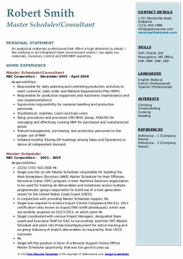 Master Scheduler/Consultant Resume Model