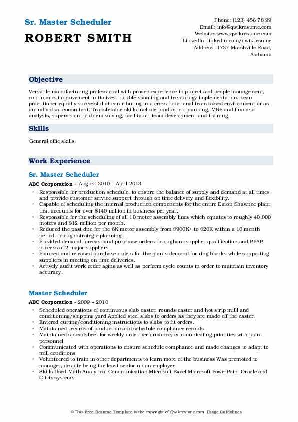 master scheduler resume samples