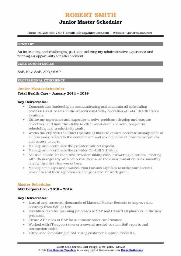 Junior Master Scheduler Resume Template
