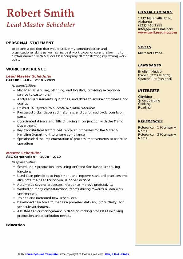 Lead Master Scheduler Resume Format