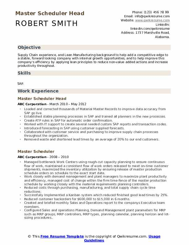 Master Scheduler Head Resume Template