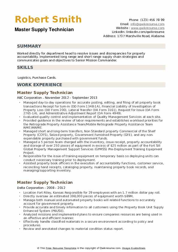 Master Supply Technician Resume example
