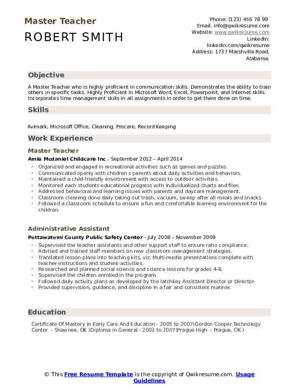 Master Teacher Resume Samples | QwikResume
