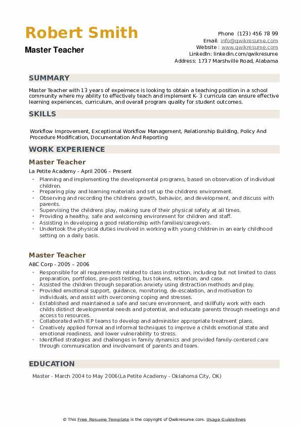 master teacher resume samples