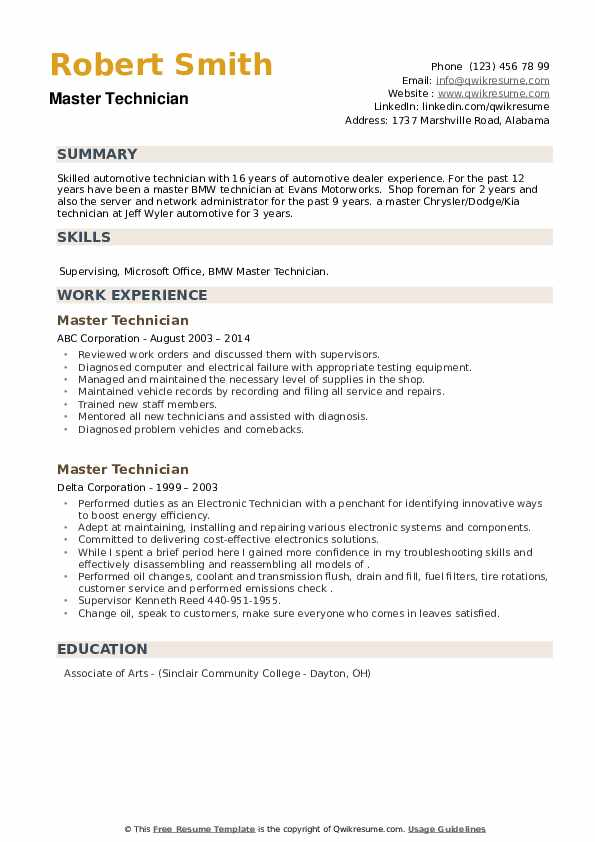 Master Technician Resume example