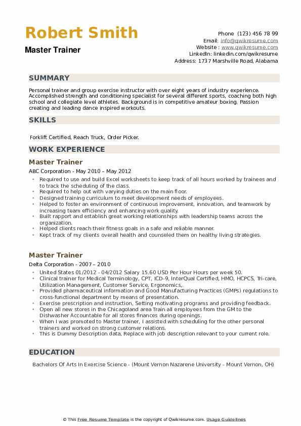 Master Trainer Resume example