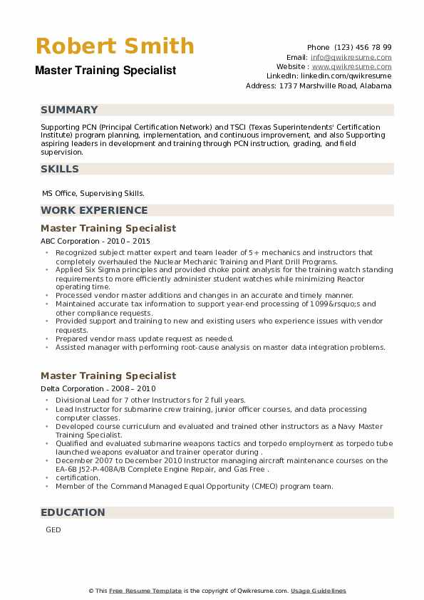 Master Training Specialist Resume example