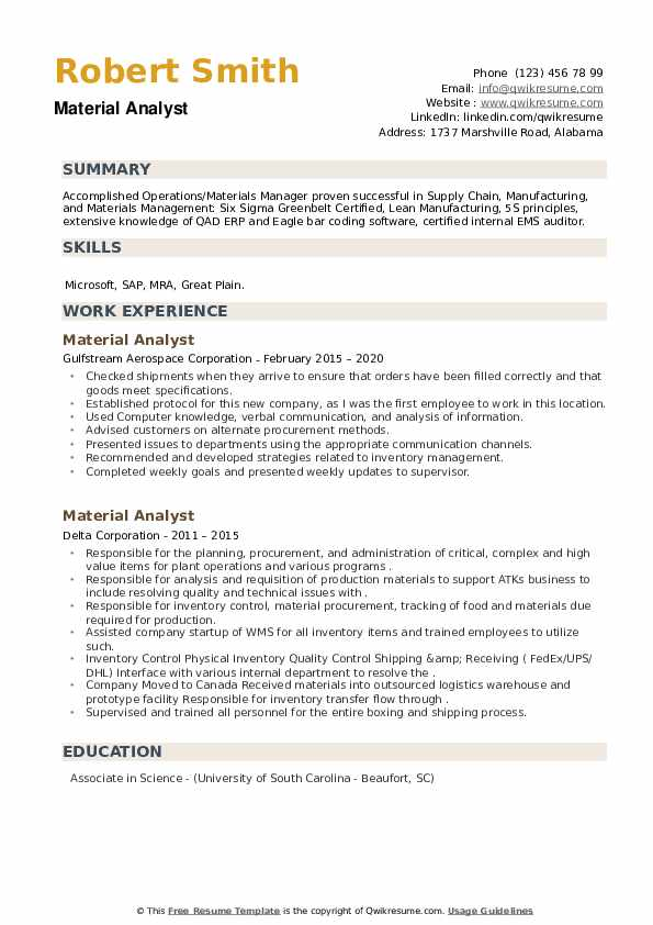 Material Analyst Resume example