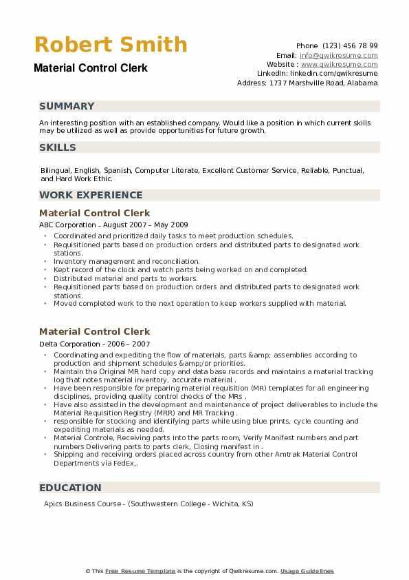 Material Control Clerk Resume example