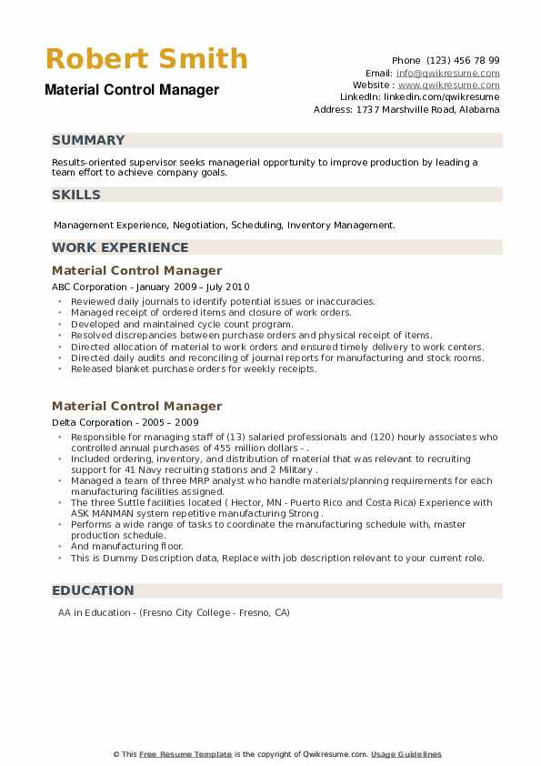 Material Control Manager Resume example