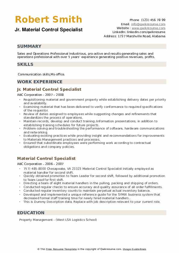 Jr. Material Control Specialist Resume Model