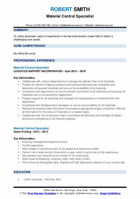 Material Control Specialist Resume Samples Qwikresume