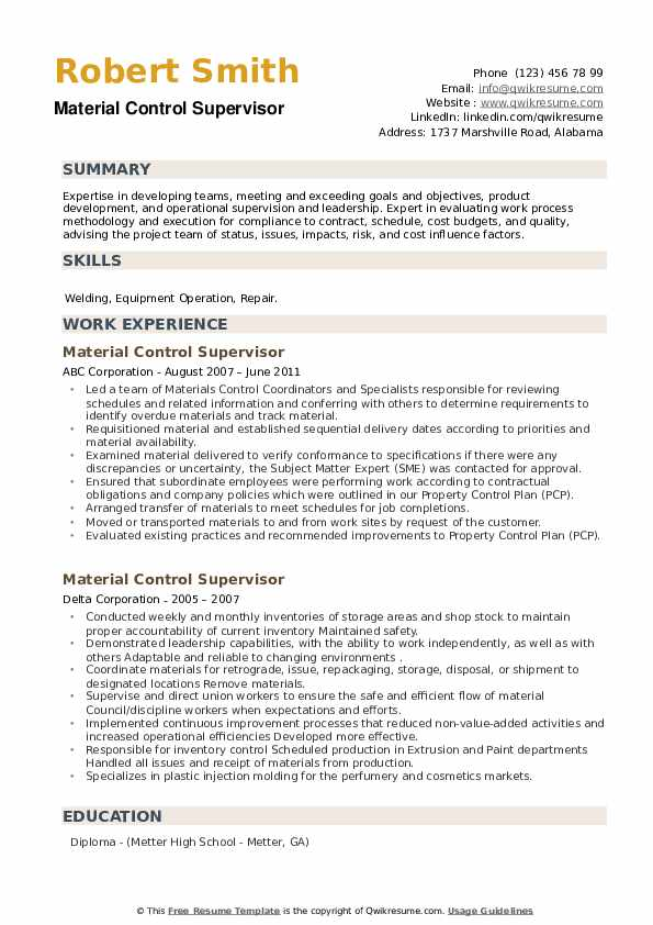 Material Control Supervisor Resume example