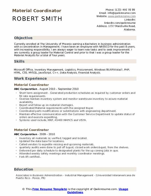 Material Coordinator Resume Model