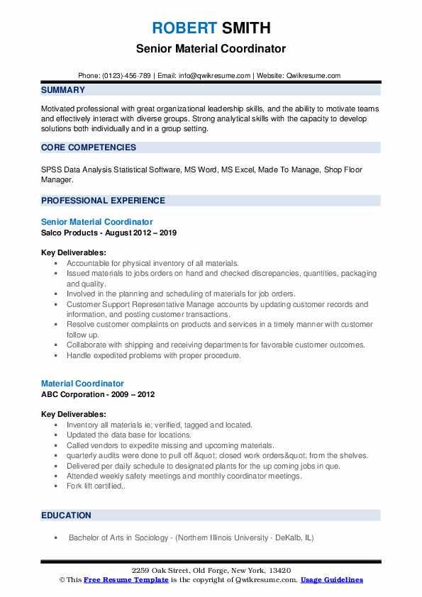 Senior Material Coordinator Resume Example