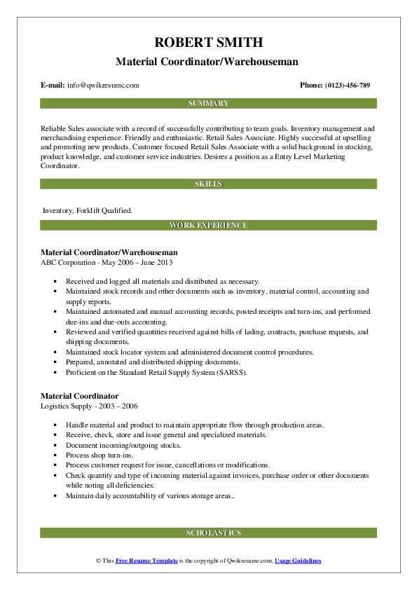 material coordinator resume samples