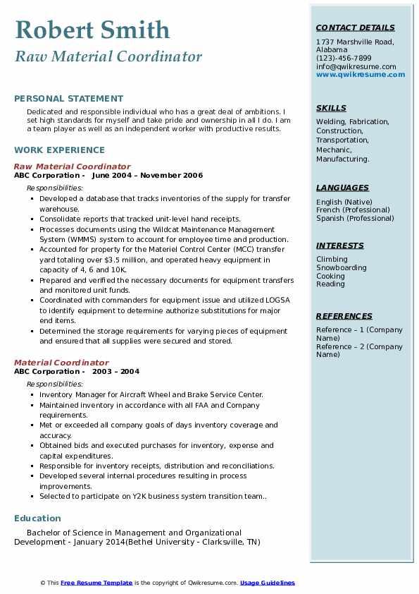 Raw Material Coordinator Resume Format