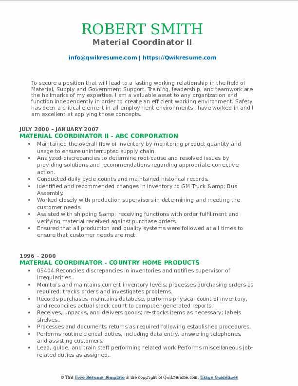 Material Coordinator II Resume Format