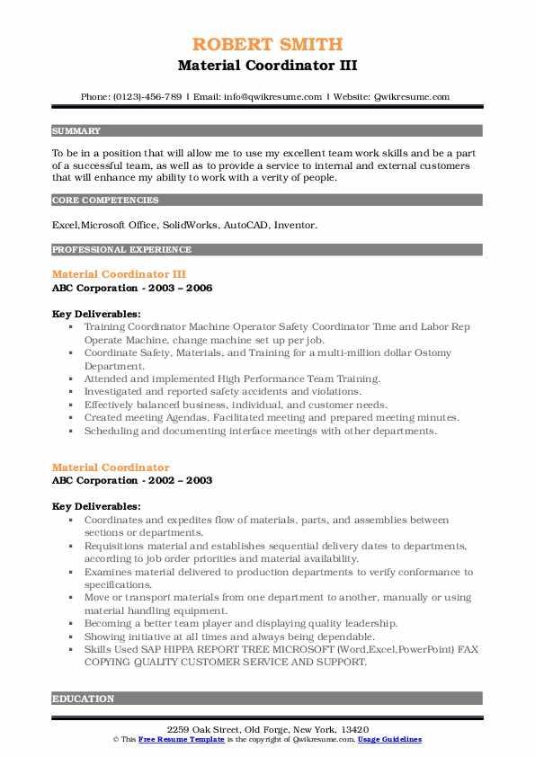 Material Coordinator III Resume Format
